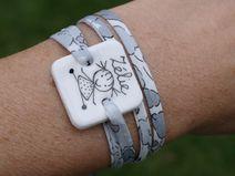 bracelet personnable en porcelaine, dessin enfant