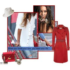 A fashion look from December 2014 featuring red coat, colorblock handbags e bohemian necklace. Browse and shop related looks.