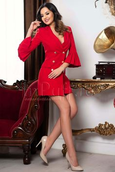 Red MBG jacket dress with fold in sleeve - - Magazin online haine de dama, Rochii de ocazie Trench Dress, Jacket Dress, Cute Dresses, Beautiful Dresses, Fashion Beauty, Womens Fashion, Fashion Heels, Lady In Red, Amazing Women