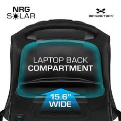 1c19937a856 Ghostek NRGsolar Series Eco Computer Laptop Backpack Book Bag + Battery  Power Bank with 5 USB Ports