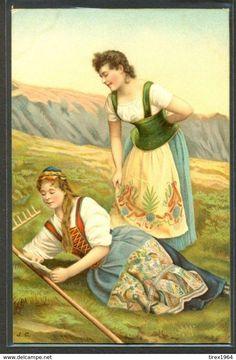 KH146 COUPLE De FEMMES COUPLE Of BEAUTIFUL LADIES FOLKLORE COSTUME Fine LITHO - Illustrateurs & Photographes