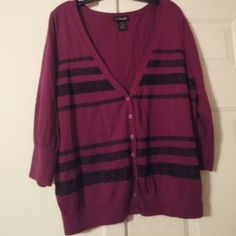 Lane Bryant V neck Cardigan Burgundy & Black Lace Lane Bryant Cardigan...v neck. .excellent condition...super cute...one of my favorites...3/4 length sleeves Lane Bryant Sweaters Cardigans