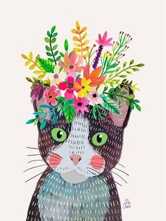 Cute Blank and White cat with Floral Crown Art Print – Funny Decoration Gift – Cute Room Decor – Poster by Mia Charro - - Art And Illustration, Crown Art, Crown Decor, Cat Wall, Cat Drawing, Framed Art Prints, Flower Art, Art Projects, Artsy