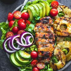 Grilled Teriyaki Chicken Salad recipes chicken recipes crockpot recipes easy recipes for dinner recipes healthy food recipes Grilled Pineapple Recipe, Pineapple Recipes, Pineapple Slices, Pineapple Salad, Pineapple Grill, Pineapple Desserts, Summer Grilling Recipes, Barbecue Recipes, Healthy Salads