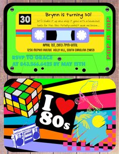 I love the 80's Theme Birthday Invitation - Cassette Tape invite. $15.00, via Etsy.