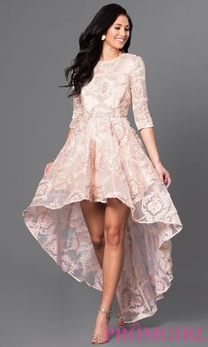 Image of high-low lace party dress with three-quarter sleeves. Front Image