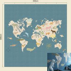 Behang XL paneel wereldkaart blauw kinderkamer 300 x 300 m