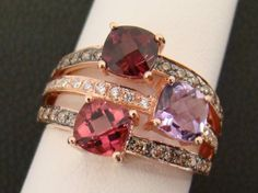 LE VIAN 14K ROSE GOLD RING CHOCOLATE DIAMONDS RHODOLITE AMETHYST PINK TOURMALINE #Levian #Band