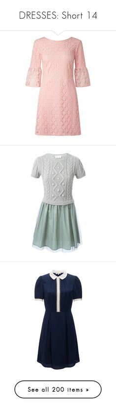 """""""DRESSES: Short 14"""" by ravenlancaster ❤ liked on Polyvore featuring dresses, pink, miss selfridge dresses, lace dress, miss selfridge, lace sleeve dress, pink lace dress, short dress, green and 2 piece dress"""