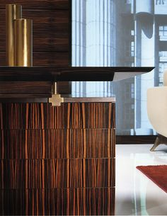 TL FURNITURE | DESIGNER DESKS WRITING TABLES SC3003 Macassar Ebony and Glass Inlaid Desk