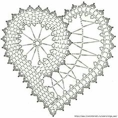 Ideas Crochet Heart Doily Pattern For 2019 Crochet Diagram, Freeform Crochet, Crochet Chart, Thread Crochet, Crochet Motif, Crochet Doilies, Crochet Flowers, Crochet Fabric, Beau Crochet