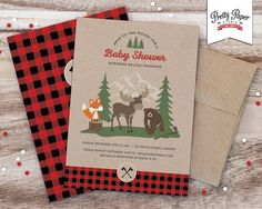 Set the theme for your baby shower with this adorable woodland invitation in natural rustic colouring with buffalo plaid accents. Description from catchmyparty.com. I searched for this on bing.com/images