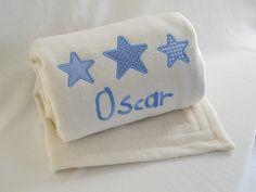 "Personalised pure new wool baby blanket. Baby Blue "" Stars"" #personalisedbabyblankets #woolbabyblankets #luxurybabyblankets"