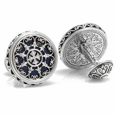 Konstantino Sterling Round Scroll with Lapis Stone Cufflinks
