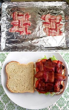 The correct way to make a BLT. Bacon cooked in the oven is so crisp! Just make sure you pour off the grease while cooking. GENIUS!