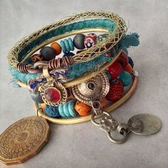 Gypsy bangles with kuchi red coral sari silk soldered by quisnam