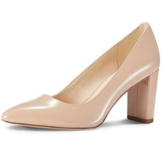 0ef7477828 JENN ARDOR Chunky Thick Heel Pumps Pointed Closed Toe Office Dress Lady  High Heel Shoes Beige