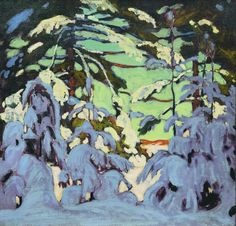 'Snow on Trees' - Lawren Harris Canadian Group of Seven. Tom Thomson, Emily Carr, Group Of Seven Artists, Group Of Seven Paintings, Canadian Painters, Canadian Artists, Landscape Art, Landscape Paintings, Tree Paintings