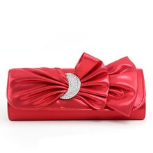 Graceful Solid Color PU Evening Bag For Women with Crystal