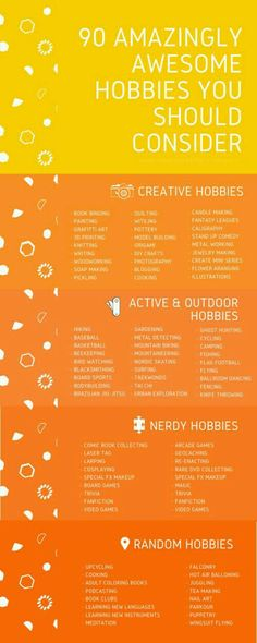 Trying to boost happiness? Try some of these hilarious, fun, and productive hobbies! (Hobbies To Try For Teens) for teens Post Grad Guide To Survival - A List of Hobbies (Because You Need Some Gosh Darn It) Hobbies To Try, New Hobbies, Crafty Hobbies, Hobbies For Kids, Hobbies Creative, Cheap Hobbies, Hobbies And Interests, Motivation, Coaching