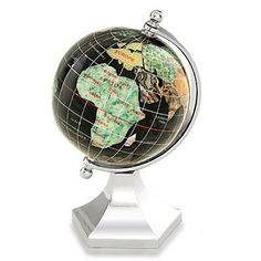Gemstone World Globes - Globes 3 Inch Diameter Gem Stone Globe with Midnight Black Onyx Gem Stone Oceans and Contempo Silver Arch
