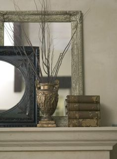 mirror, case with branches, with candles and a clock;)