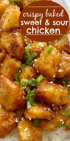 Homemade Baked Sweet & Sour Chicken is better than any take-out! Fresh and homemade with only a few ingredients. Chunks of crispy baked chicken in an easy sweet & sour sauce. Asian Chicken Recipes, Asian Recipes, Beef Recipes, Cooking Recipes, Chicken Thigh Recipes Oven, Recipies, Kitchen Recipes, Healthy Recipes, Homemade Chinese Food