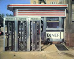 Richard Estes (b. May 14, 1932, Kewanee, Illinois) is an American artist, best known for his photorealist paintings. The paintings generally consist of reflective, clean, and inanimate city and geometric landscapes. He is regarded as one of the founders of the international photo-realist movement of the late 1960s, with such painters as Ralph Goings, Chuck Close, and Duane Hanson.