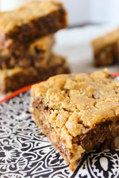 Molly Beth Bars - a heavenly combination of peanut butter, loads of chocolate chips, and oats; the most addictive dessert bars! | Fork in the Kitchen