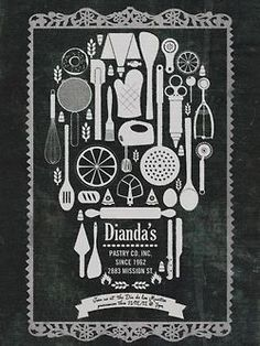 Chalkboard [dusty look reminiscent of flour topped bread] + device of using baking utensil shapes