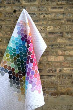 Modern Handcraft // Geometric Rainbow  - Modern Hexie Quilt
