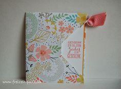 Card pulls out & has a pretty coordinating stamp inside Stempel ... Freizeit ... pur: Blumen - zum Geburtstag