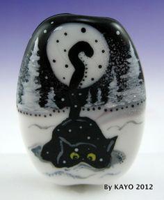 """Snowflake Seeker"" Bykayo A Handmade OOAK Cat Lampwork Art Glass Focal Bead SRA | eBay"