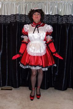 My Maid uniform with Cuban Heel Classic Fully Fashioned Stockings and Pleaser Delight 676 stiletto heels