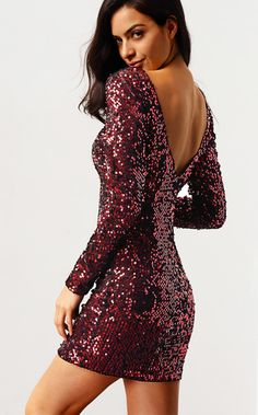 Wine Red Long Sleeve Sequined Backless Dress