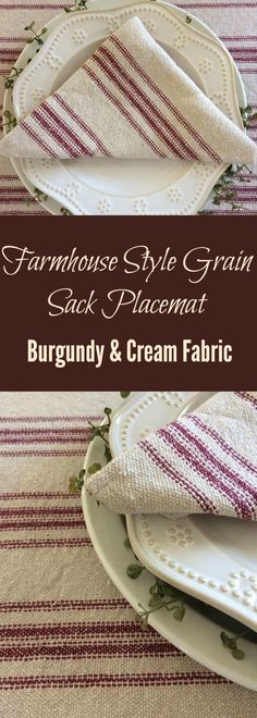 Farmhouse Style Grain Sack Placemat | Burgundy Stripe Cream Fabric | French Country Style Table Linens | Rustic Table Linens #farmhousestyle #farmhouse #grainsack #placemats #tablelinens #frenchcountry #affiliatelink