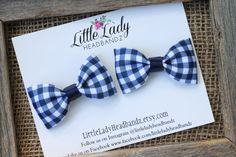 Navy Gingham Plaid bows Pigtail Hair bows Blue Plaid Bows Picnic bows Toddler hair clips bows toddler barrettes - no slip by LittleLadyHeadbandz on Etsy