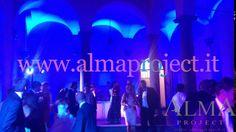ALMA PROJECT @ Villa Gamberaia - courtyard party led bars uplights blue walls