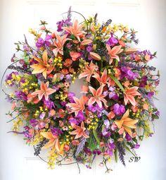 Spring Wreath-Summer Wreath-Bright Bold by SeasonalWreaths on Etsy