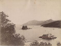 GRECE Corfou Photo Borri Ponticonissi Tirage albuminé Vintage albumen ca 1880