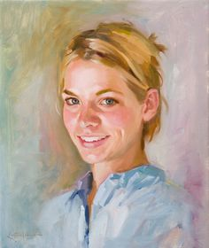 Ben Lustenhouwer oil painting portrait woman mauve blue yellow pale green - love how this has been done. It's so away from the traditional portrait with the dark background and feels natural.