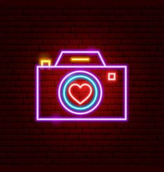 Neon sign photo camera symbol with text Royalty Free Vector Web Design, Graphic Design, Single Image, Chicago Cubs Logo, Vector Free, Highlights, Royalty, Neon Signs, Love