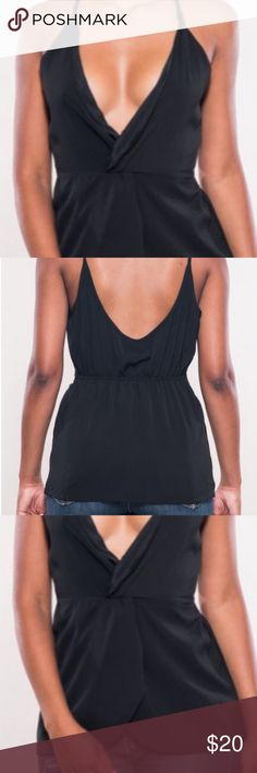 🆕 New arrival- Kelsey Black V-neck Twist Top Front twist black v-neck.  Has scoop back with elastic banding and spaghetti straps.    Material: Polyester/Spandex Available sizes: Med & Large  ❤️Add to bundle and save ✖️ No Paypal or outside transactions  (Represented are stock photos from the boutique) Tops