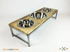 Dish Feeding station, Rustic Dog bowl, triple feeder,  Raised dog dish, Multi-Pet Feeding Station, 2 Medium, 1 Large Stainless steel dish