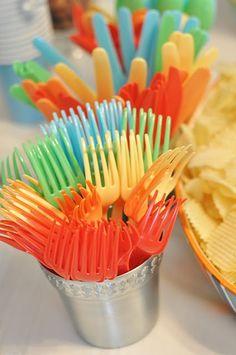 Rainbow cutlary, plates, and cups!