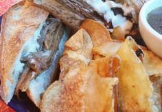 Week of June 15, 2016:  FRENCH DIP SANDWICH: Our house-made shaved Seitan, grilled Onions and Horseradish Dijonnaise on an Iggy's baguette. Served w/a vegan au jus for dipping & your choice of potato salad, house-fried potato chips or slaw. All #vegan.