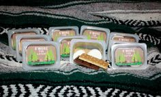 Baby food containers made in to S'More Packs- perfect for stuffing a pinata with. #Miss Party Mom #Camping Party