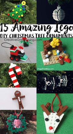 15 Awesome LEGO Christmas Ornaments : These are the best DIY Lego Christmas ornaments! Each of these projects comes with instructions for how to build them, which makes building Xmas tree decorations easy for kids. Building Lego Christmas ornaments is the Christmas Tree Decorations For Kids, Lego Christmas Ornaments, Christmas Crafts For Kids, Christmas Fun, Handmade Kids Christmas Gifts, Christmas Presents, Womens Christmas, Reindeer Christmas, Christmas Candles