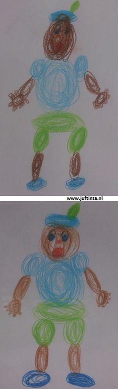 * Tekenopdracht! Deze Zwarte Piet maak je door alleen maar rondjes te tekenen. Er wordt dus niets van te voren getekend en echt ingekleurd.
