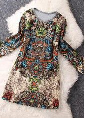 Split Neck Dashiki Print Black Dress on sale only US$30.16 now, buy cheap Split Neck Dashiki Print Black Dress at liligal.com